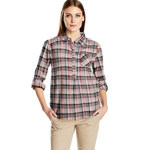 NWT prAna Gina 100% Organic Cotton Plaid Shirt